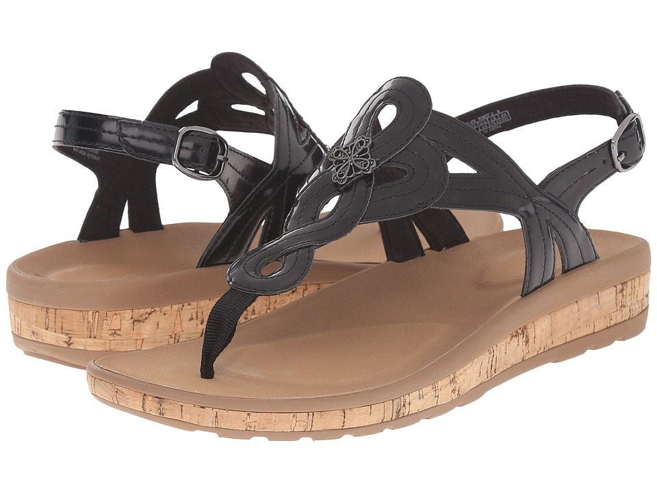 Rockport - Weekend Casuals Keona Flower T-Strap (Black Patent) Women's Shoes