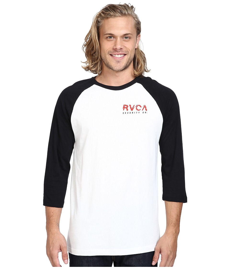 RVCA - Always Watching Raglan (Black/Vintage White) Men's Clothing