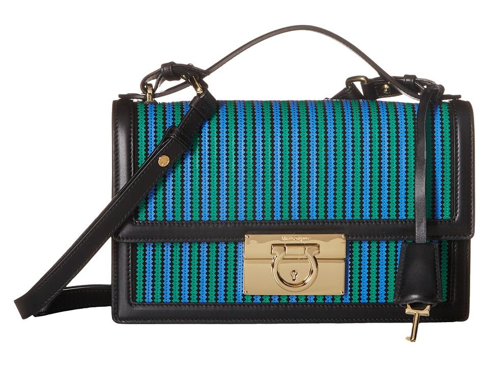 Salvatore Ferragamo - Aileen (Camoscio Nero/Vitello Emeraude/Bleu Indien) Shoulder Handbags