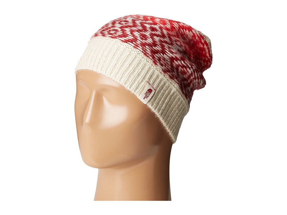 The North Face - Tribe N True Beanie (Vintage White/Biking Red) Beanies