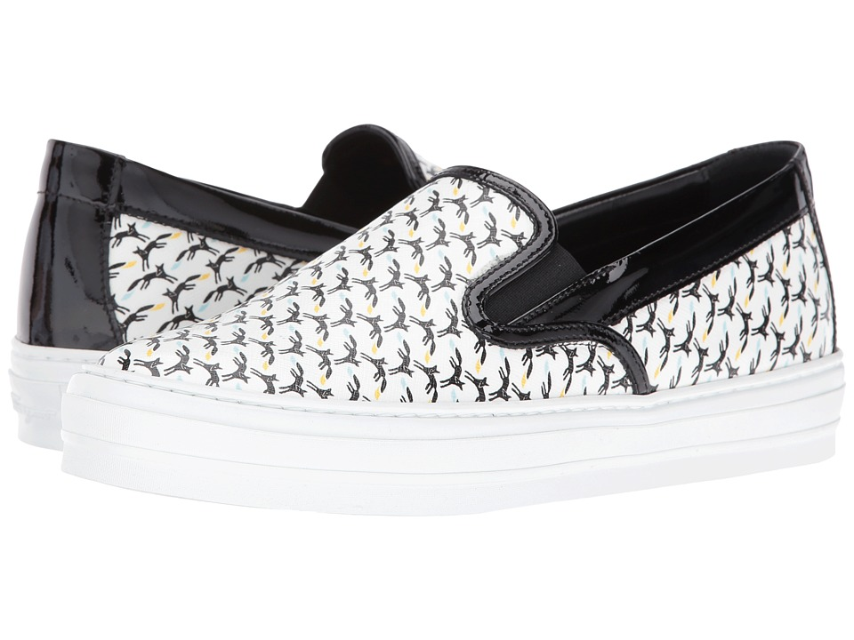 Salvatore Ferragamo Printed Leather Slip-On Sneaker (Fondo/Bianco/Volpe/Nera/Coda/Nero) Women
