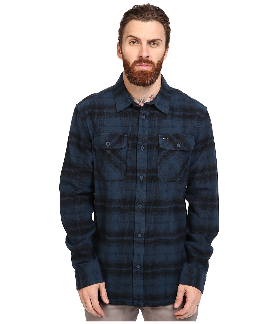 RVCA - Standoff Long Sleeve Flannel (Midnight) Men's Clothing