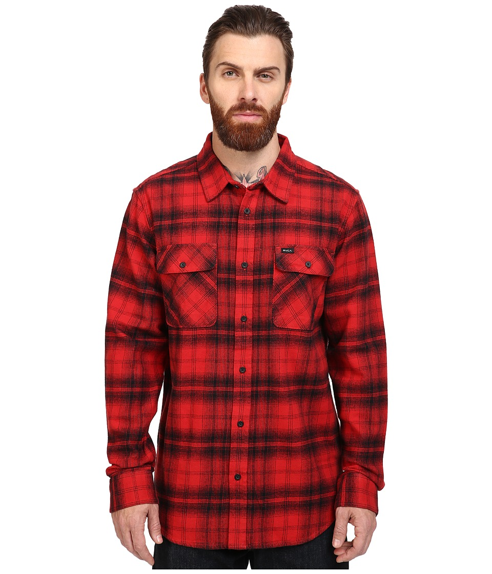 RVCA - Standoff Long Sleeve Flannel (Pompei Red) Men's Clothing