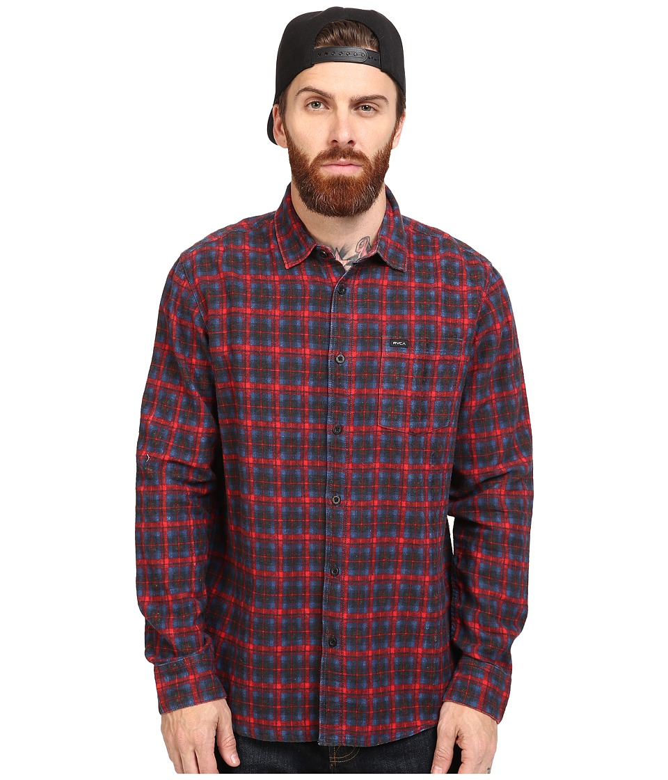RVCA - Soon As Long Sleeve Woven (Pompei Red) Men's Clothing