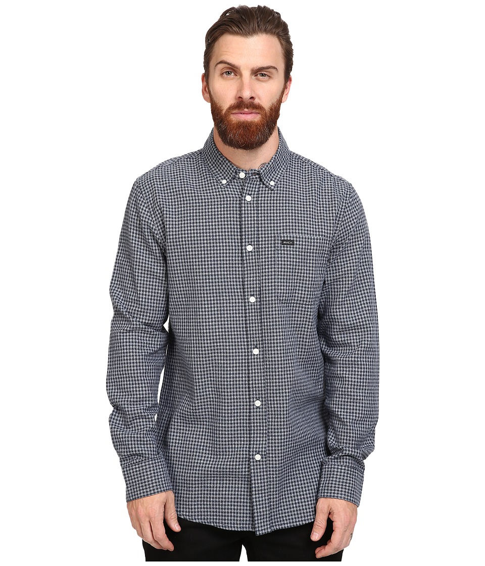RVCA - That'll Do Twist Long Sleeve Woven (Dark Denim) Men's Clothing