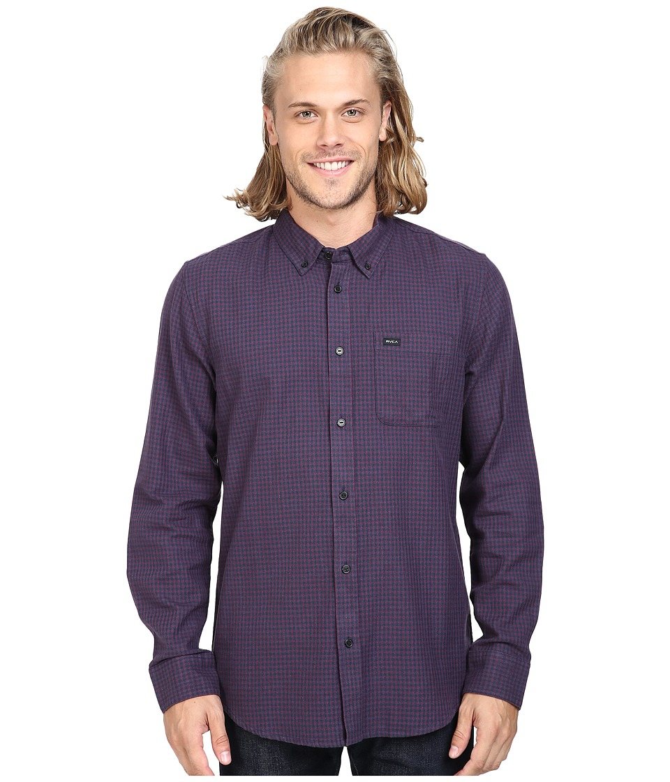 RVCA - That'll Do Twist Long Sleeve Woven (Tawny Port) Men's Clothing