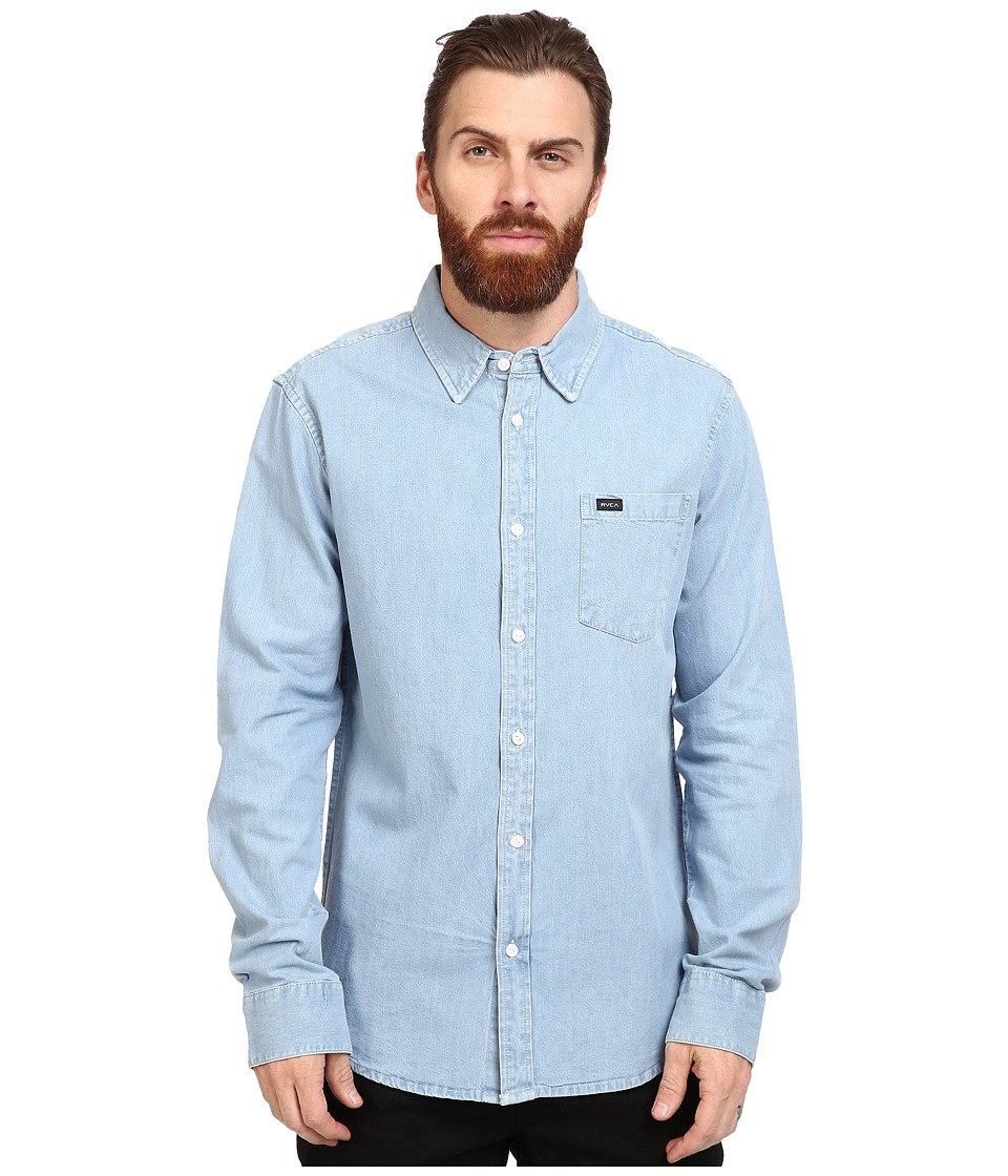 RVCA - Johnny Long Sleeve Woven (Light Indigo) Men's Clothing