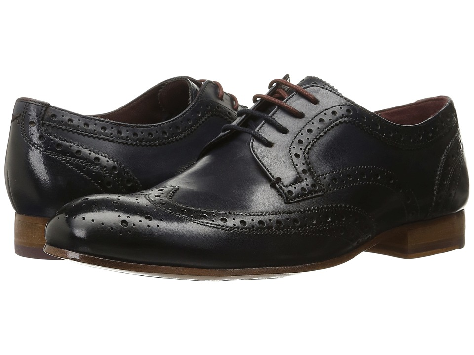 Ted Baker - Gryene (Dark Blue Leather) Men's Lace Up Wing Tip Shoes