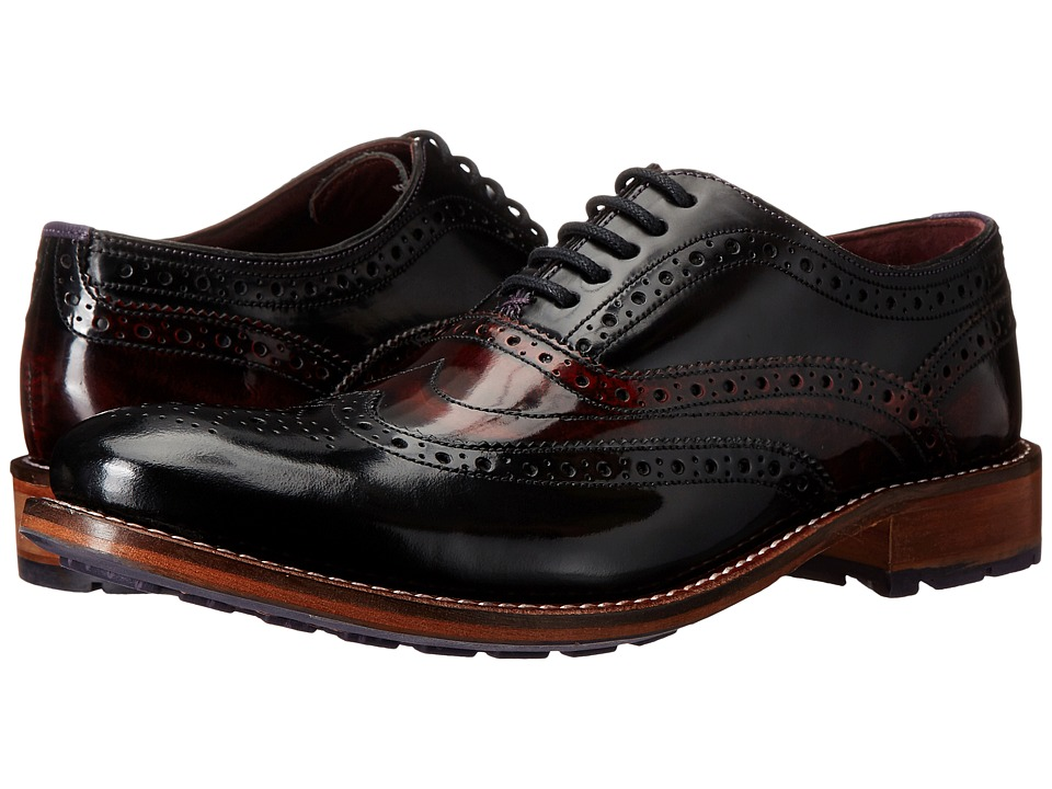 Ted Baker - Krelly 2 (Black/Dark Red High Shine Leather) Men's Shoes
