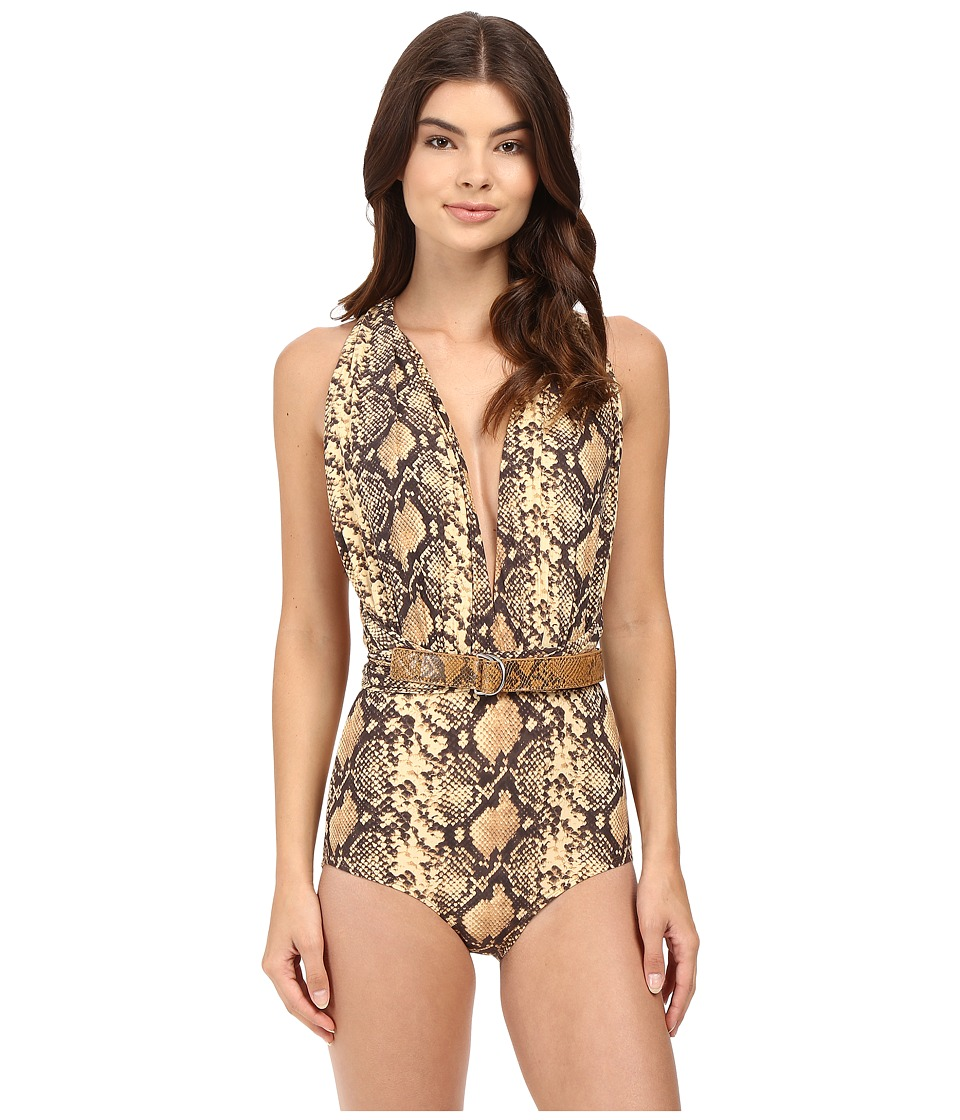 Michael Kors - Snake-Print Shirred Maillot (Butter) Women's Swimsuits One Piece
