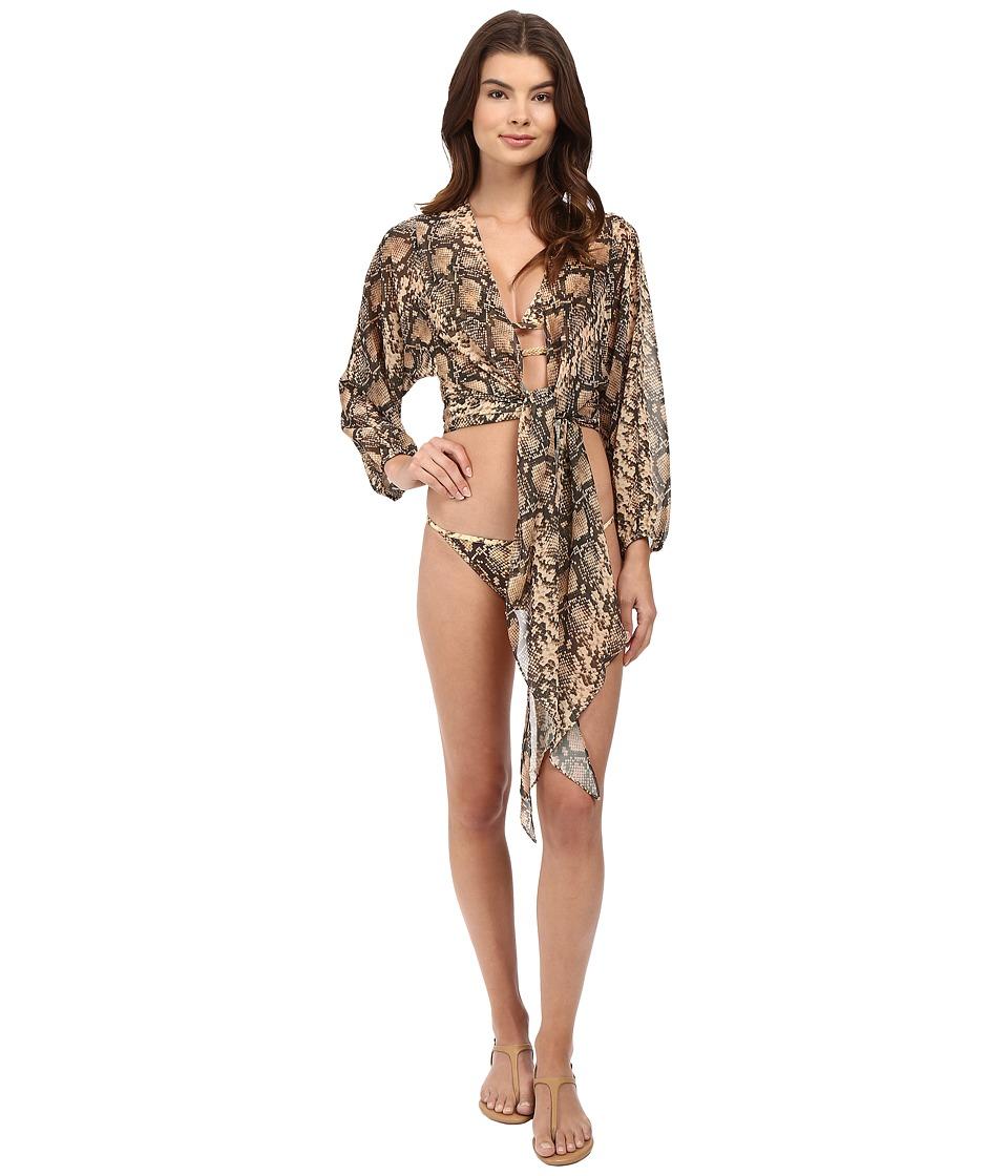 Michael Kors - Snake-Print Cover-Up (Butter) Women's Swimwear