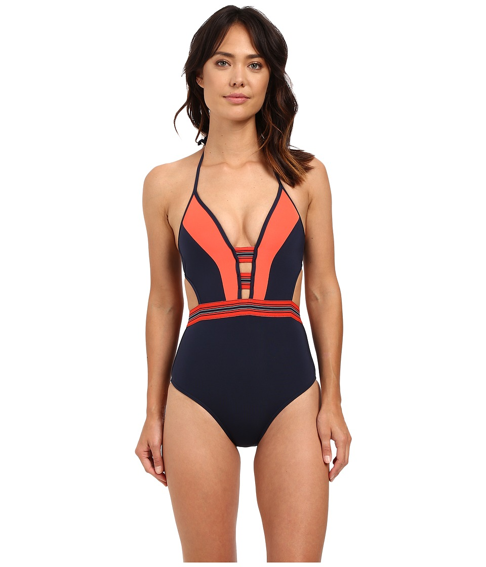 JETS by Jessika Allen - Optima Plunge One-Piece (Ink/Valencia) Women's Swimsuits One Piece