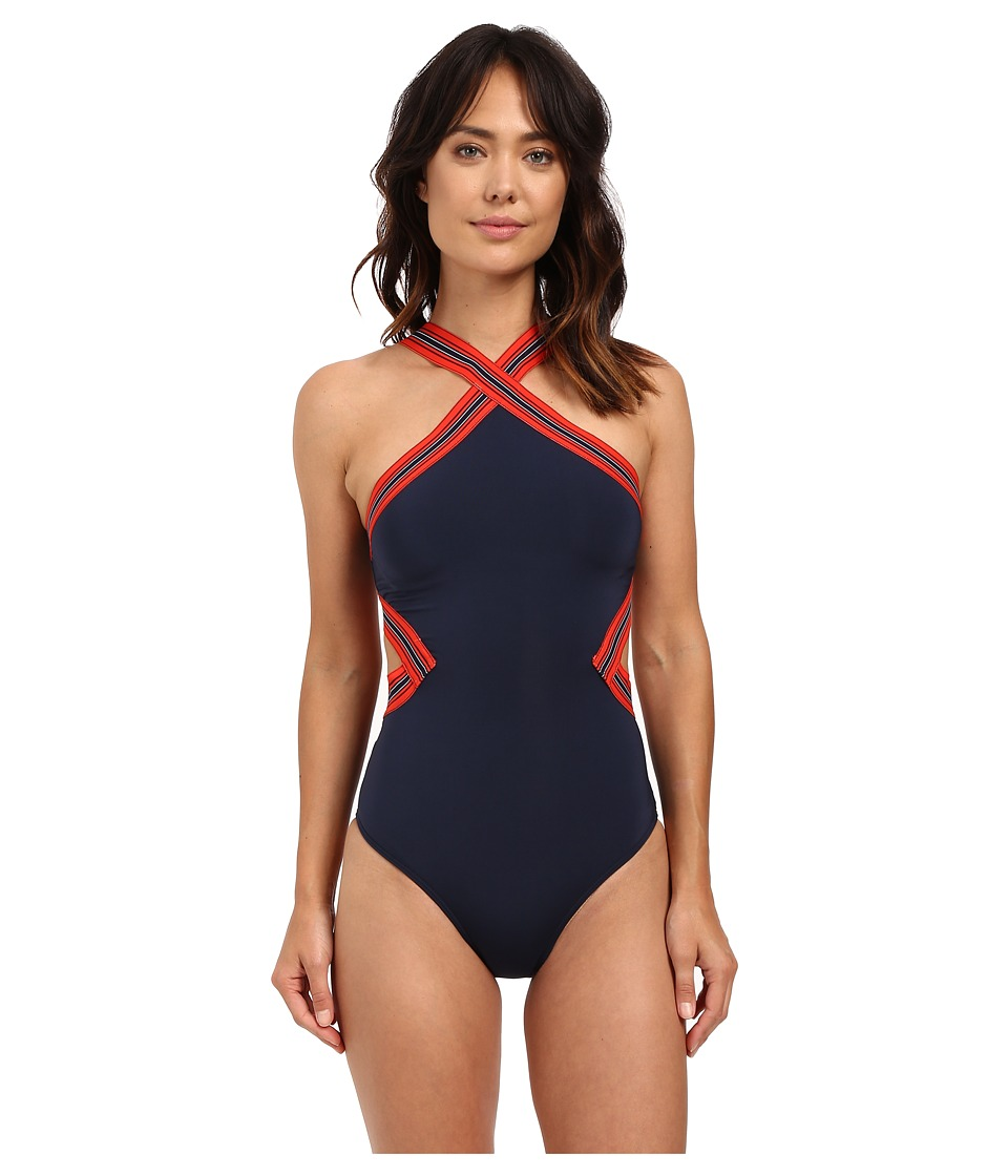 JETS by Jessika Allen - Optima Cross Neck One-Piece (Ink/Valencia) Women's Swimsuits One Piece