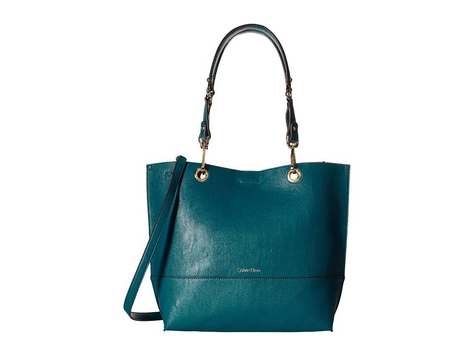 Calvin Klein - Pebble Tote (Lagoon/Antique Bronze) Tote Handbags