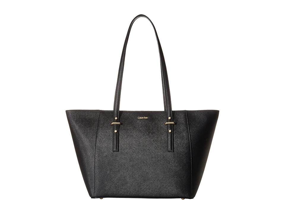 Calvin Klein - Saffiano Tote (Black/Gold) Tote Handbags