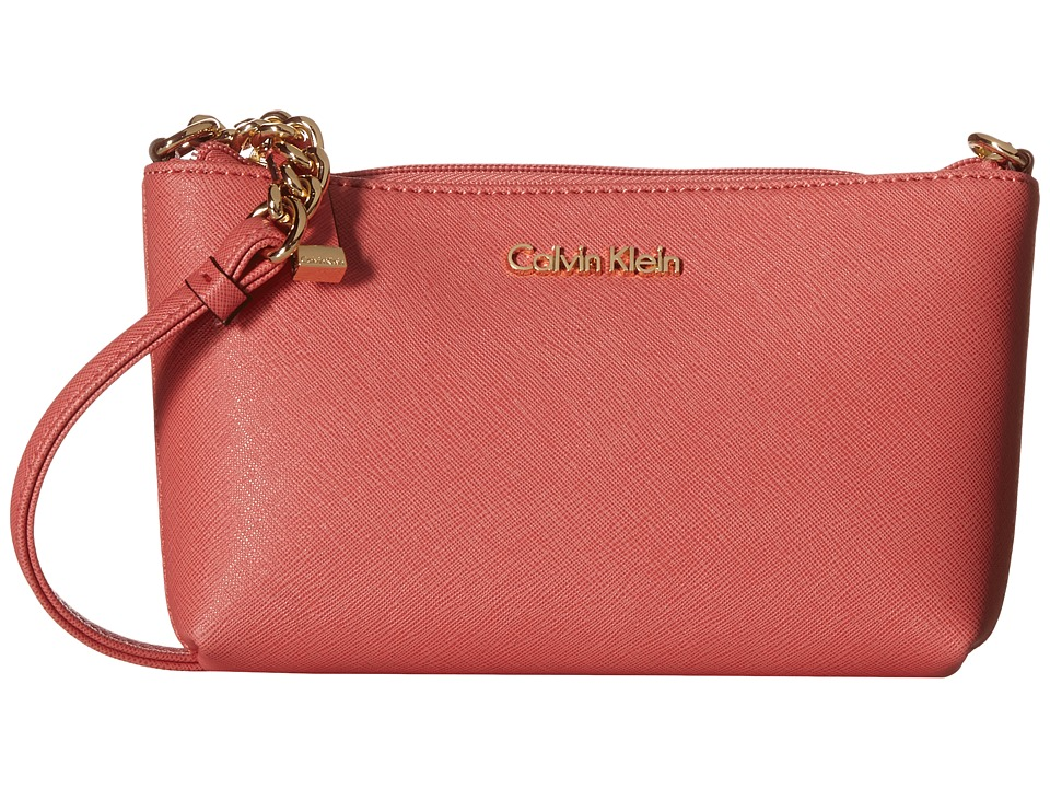 Calvin Klein - Saffiano Crossbody (Salmon) Cross Body Handbags