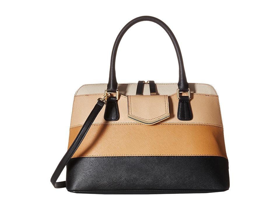 Calvin Klein - Saffiano Satchel (Neutral Color Block) Satchel Handbags