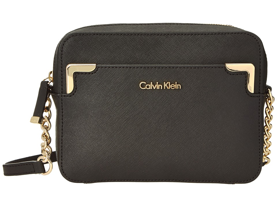 Calvin Klein - Saffiano Crossbody (Black/Gold) Shoulder Handbags