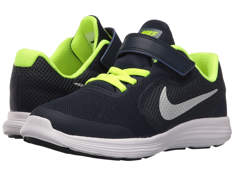 Nike Kids Revolution 3 (Little Kid) (Obsidian/Hasta/Volt/Metallic Platinum) Boys Shoes