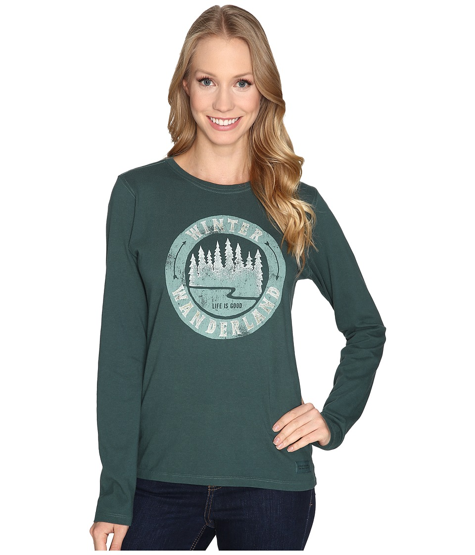 Life is good - Winter Wanderland Arrows Long Sleeve Crusher Tee (Balsam Green) Women's Long Sleeve Pullover