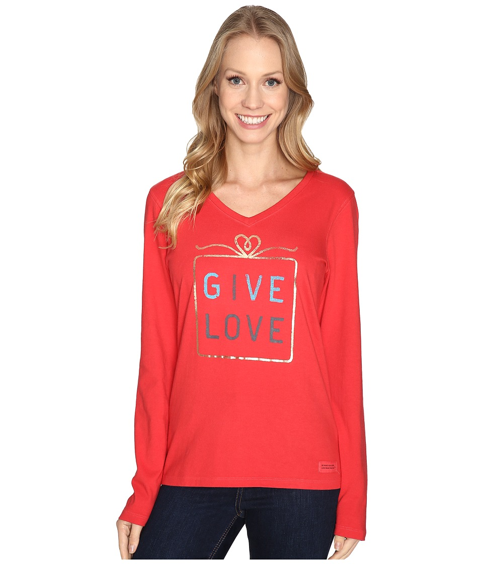 Life is good - Give Love Gift Long Sleeve Crusher Vee (Simply Red) Women's Long Sleeve Pullover
