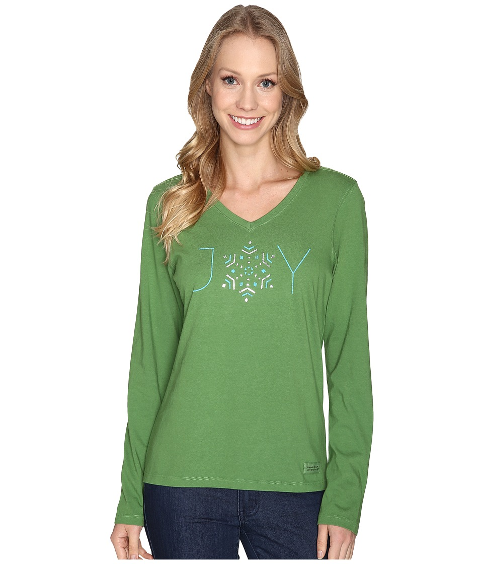 Life is good - Joy Snowflake Long Sleeve Crusher Vee (Treetop Green) Women's Long Sleeve Pullover