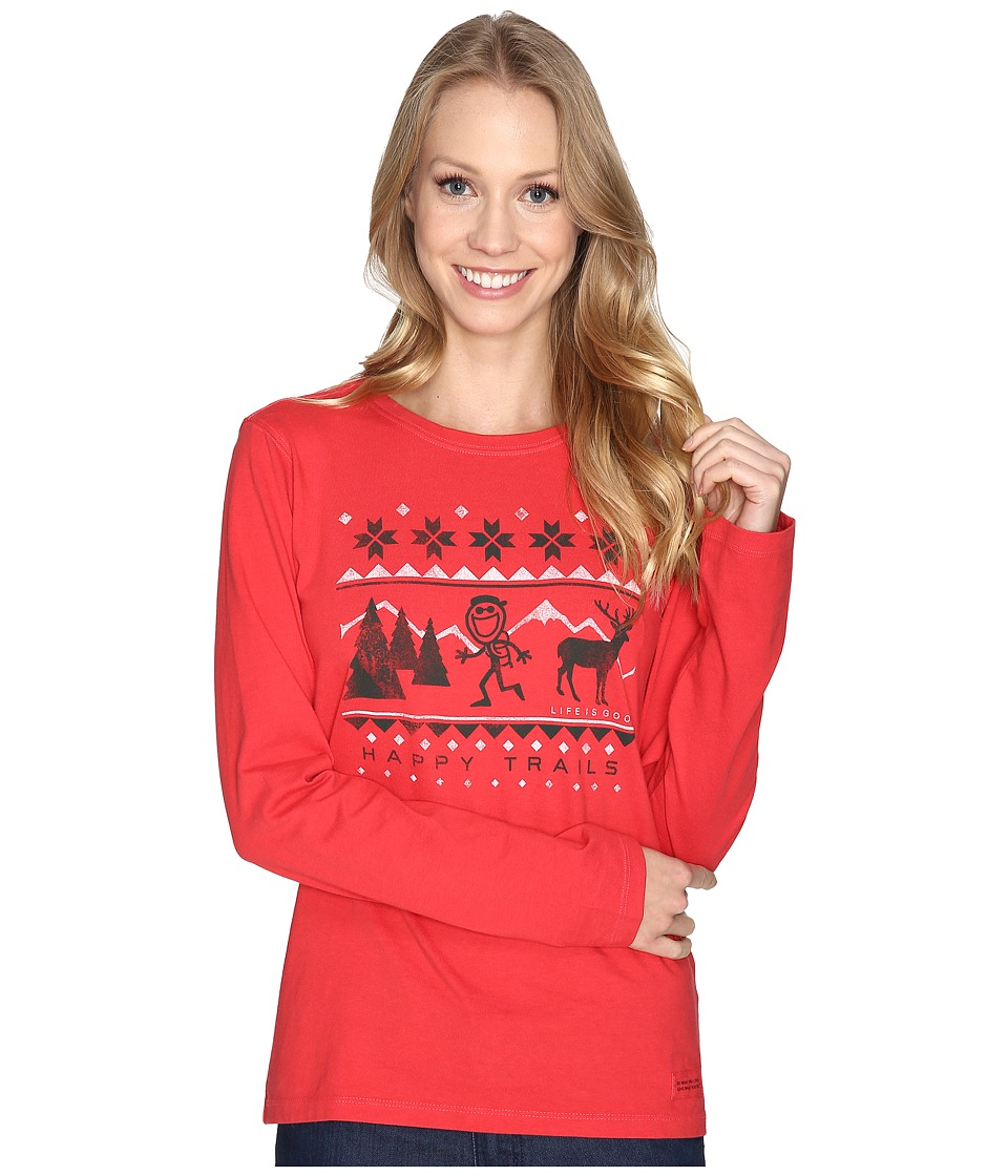 Life is good - Happy Trails Sweater Long Sleeve Crusher Tee (Simply Red) Women's Long Sleeve Pullover