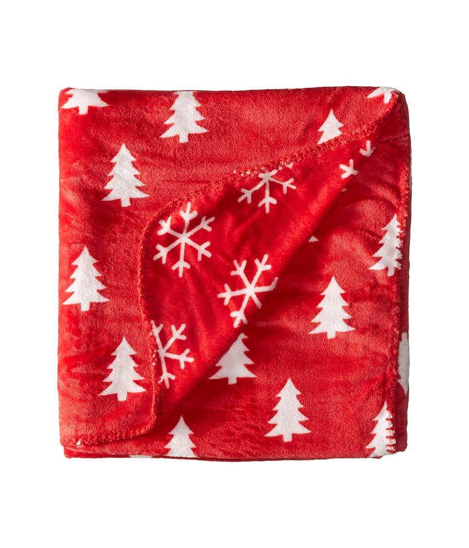 Life is Good - Pine Trees and Snowflakes Blanket (Simply Red) Blankets