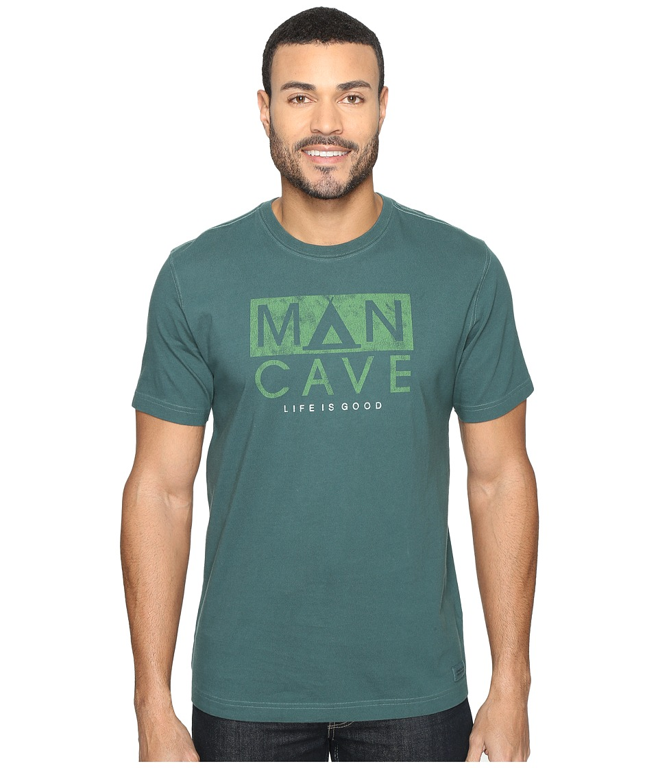 Life is good - Man Cave Tent Crusher Tee (Balsam Green) Men's T Shirt