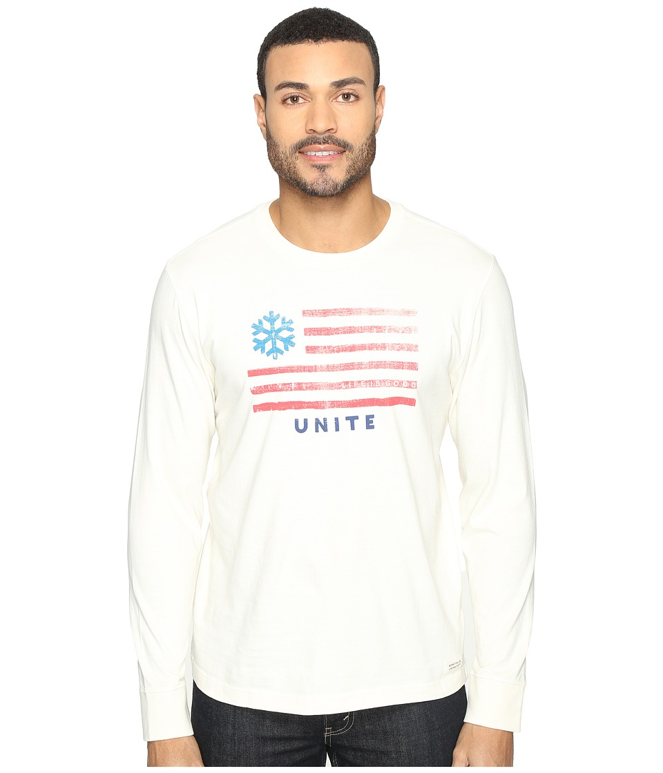 Life is good - Snowflake Unite Flag Long Sleeve Crusher Tee (Simply Ivory) Men's Long Sleeve Pullover