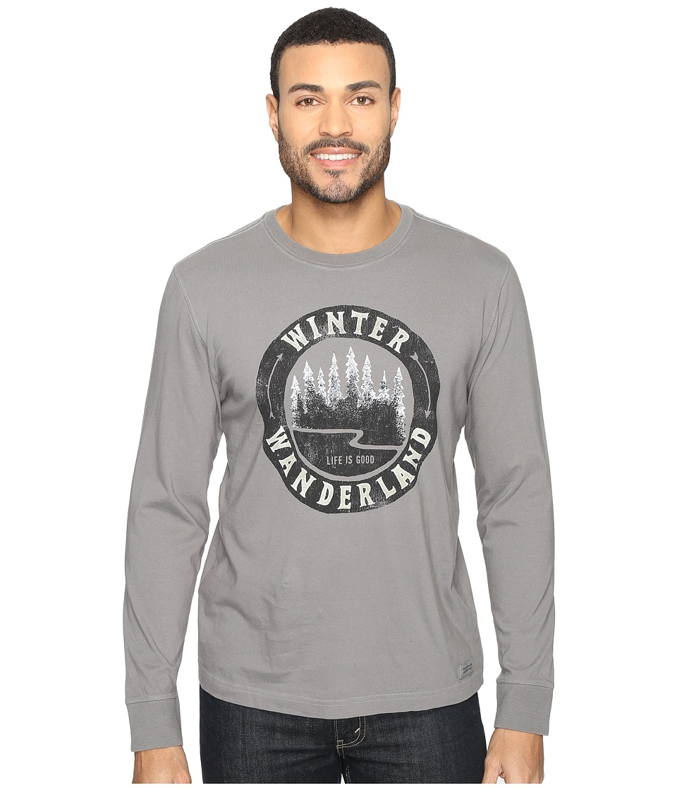 Life is good - Winter Wanderland Arrows Long Sleeve Crusher Tee (Slate Gray) Men's Long Sleeve Pullover