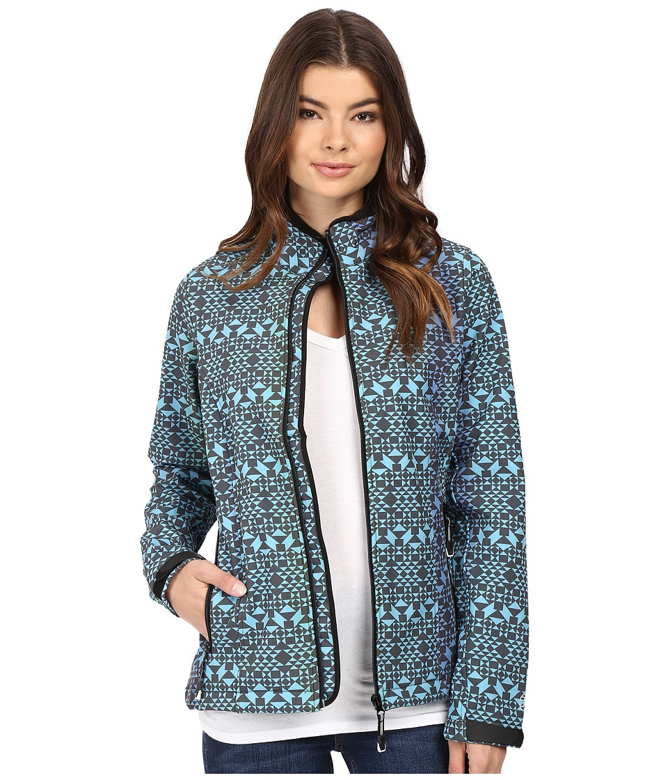 Roper - Diamond Aztec Softshell Bomber Jacket (Blue) Women's Coat