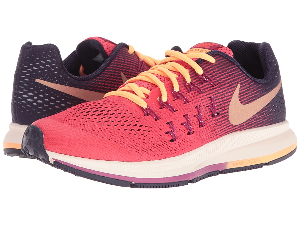Nike Kids - Zoom Pegasus 33 (Little Kid/Big Kid) (Ember Glow/Purple Dynasty/Dynamic Berry/Metallic Red Bronze) Girls Shoes