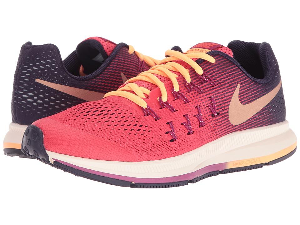Nike Kids - Zoom Pegasus 33 (Little Kid/Big Kid) (Ember Glow/Purple Dynasty/Dynamic Berry/Metallic Red Bronze) Girls Shoes