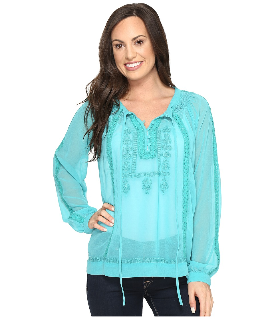 Roper - 0790 Georgette Blouse with Embroidery (Blue) Women's Blouse