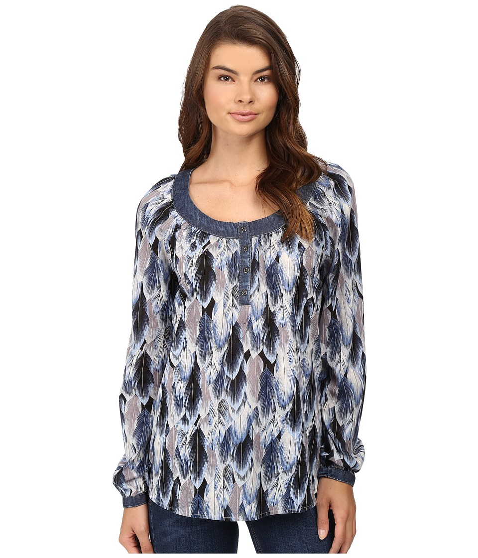Roper - 0540 Feather Print Peasant Blouse (Blue) Women's Blouse