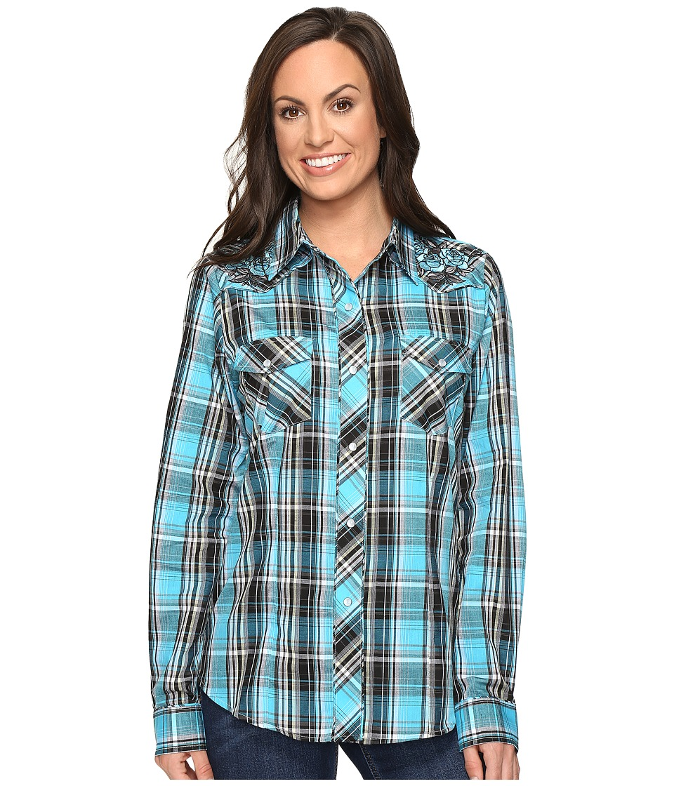 Roper - 0651 Turquoise Plaid Embroidery Shirt (Blue) Women's Clothing