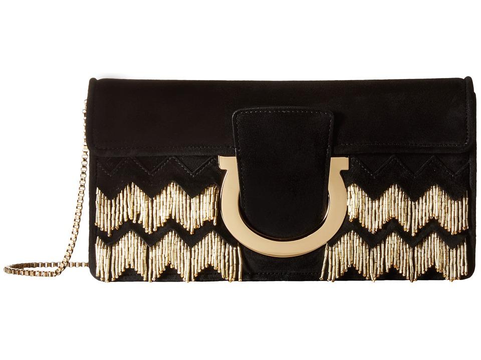 Salvatore Ferragamo - Thalia (Camoscio Nero/Oro) Handbags