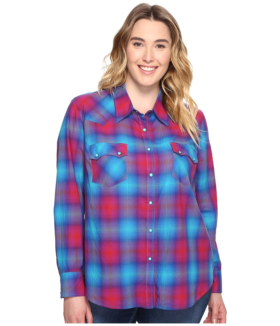 Roper - Plus Size 0510 Bright Ombre Plaid Western Shirt (Blue) Women's Clothing