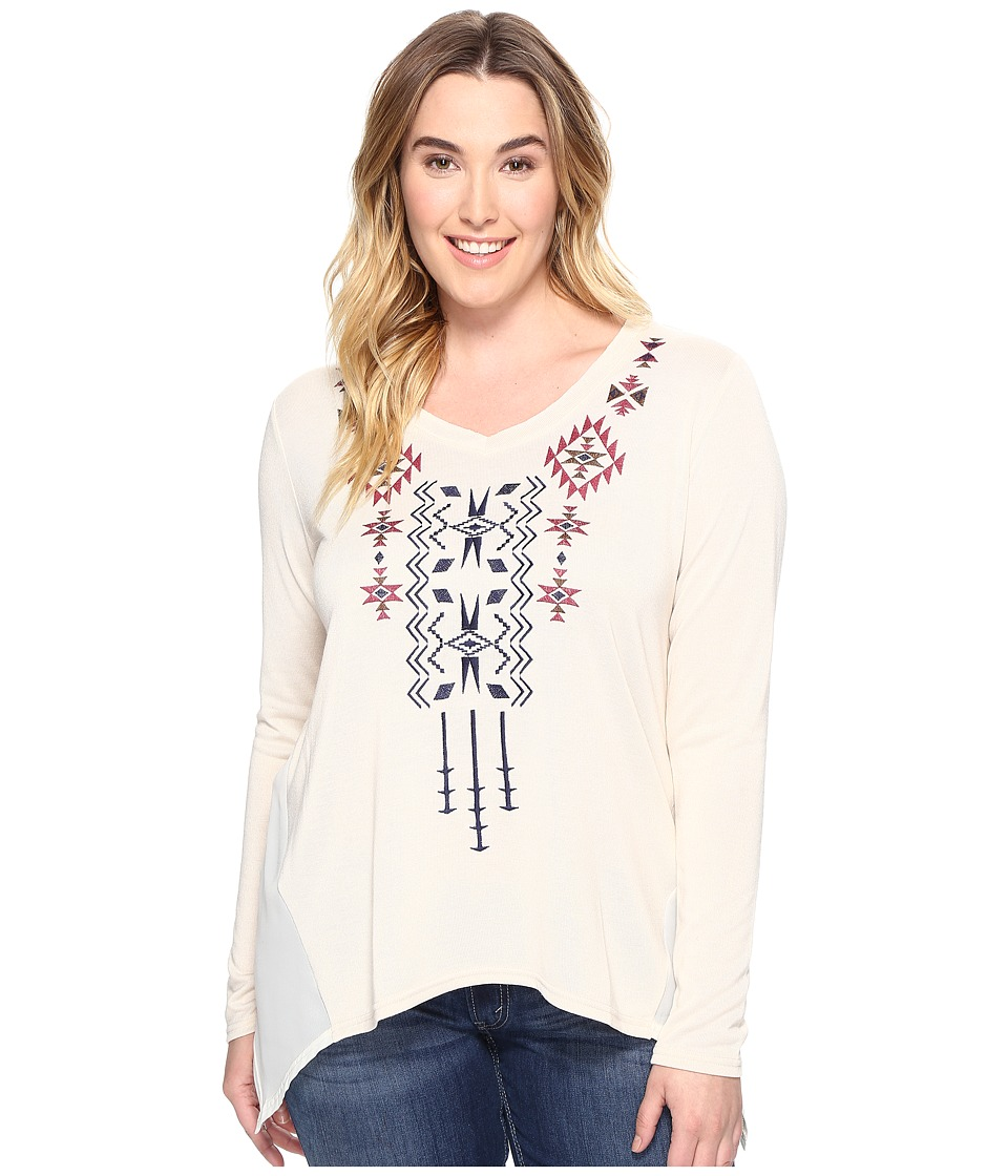 Roper - Plus Size 0588 Solid Sweater Jersey Tunic (White) Women's Clothing