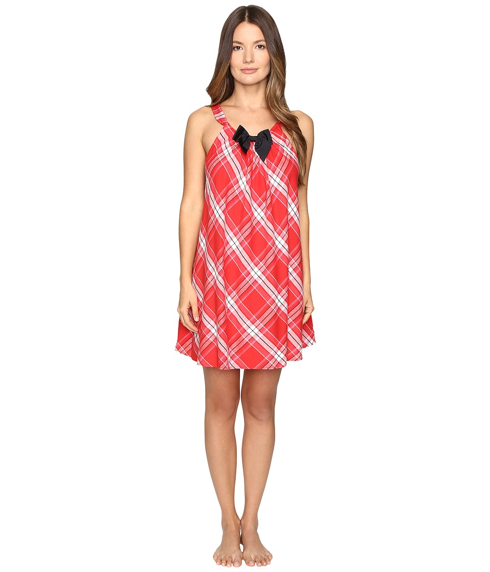 Kate Spade New York - Flannel Chemise (Winterly Plaid Red) Women's Pajama