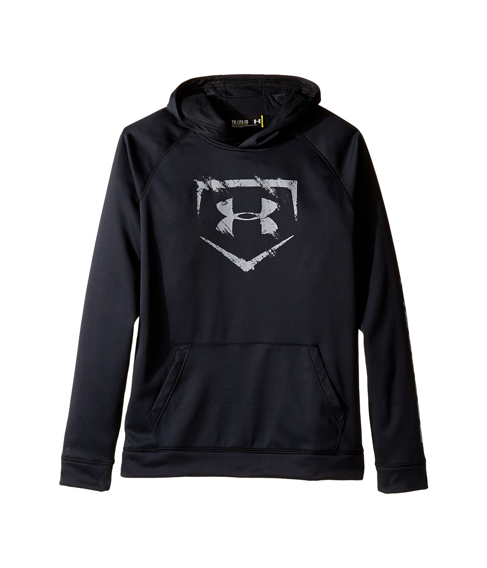 Under Armour Kids - Baseball Logo Hoodie (Big Kids) (Black/Baseball Gray/Baseball Gray) Boy's Long Sleeve Pullover