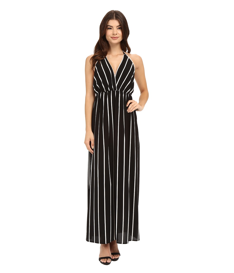 Brigitte Bailey - Petra Striped Halter Dress (Black) Women's Dress