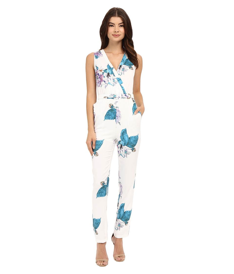 Brigitte Bailey - Lotte V-Neck Floral Jumpsuit (White) Women's Jumpsuit & Rompers One Piece