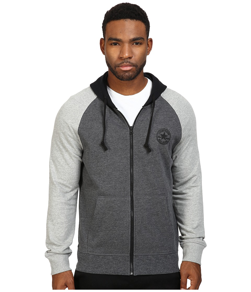 Converse - Color Block Full Zip Hoodie (Charcoal Marl) Men's Sweatshirt