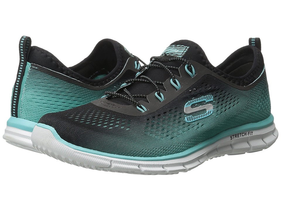 SKECHERS - Glider - Fearless (Black/Aqua) Women's Shoes