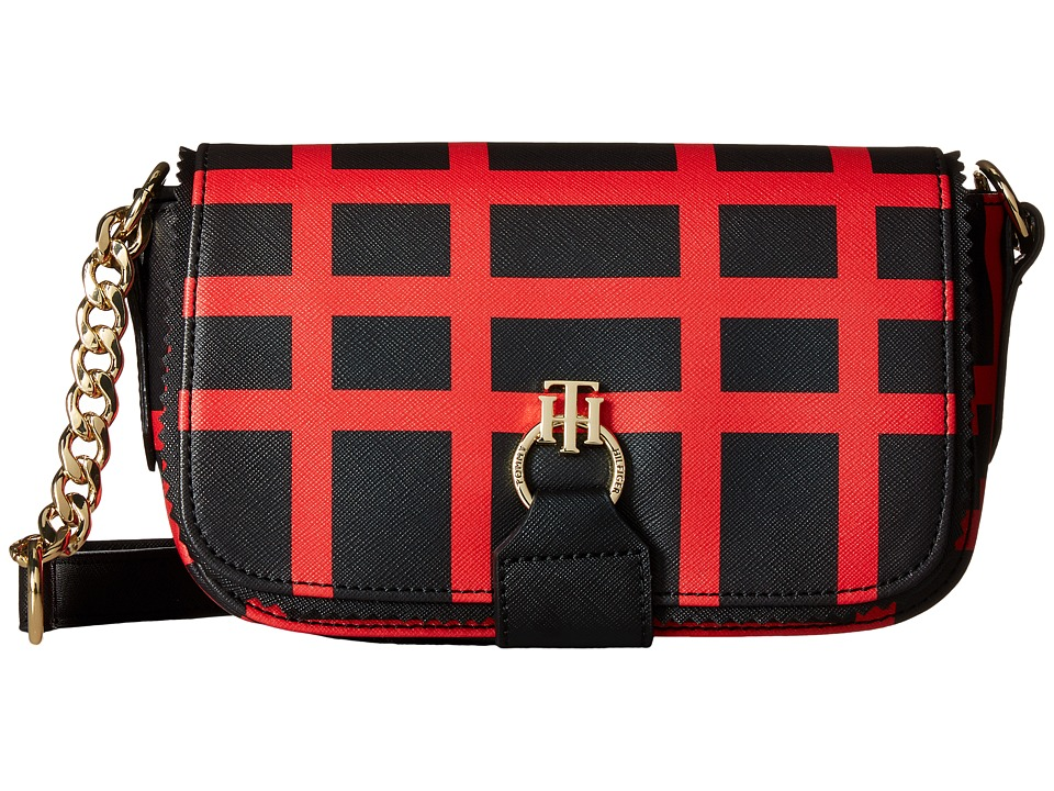 Tommy Hilfiger - Claire - Small Flap Crossbody (Black/Red) Cross Body Handbags