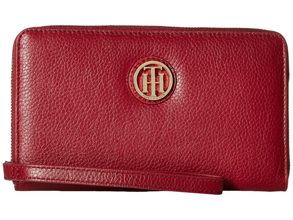 Tommy Hilfiger - TH Serif Signature - Carryall Wristlet (Cabernet) Wristlet Handbags