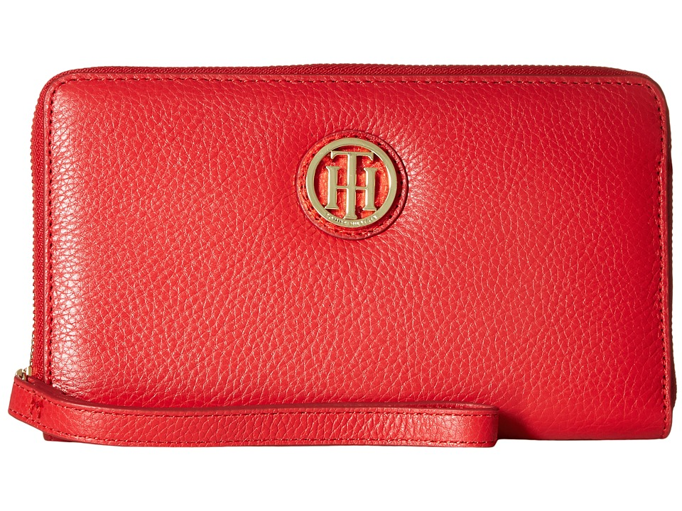 Tommy Hilfiger - TH Serif Signature - Carryall Wristlet (Racing Red) Wristlet Handbags