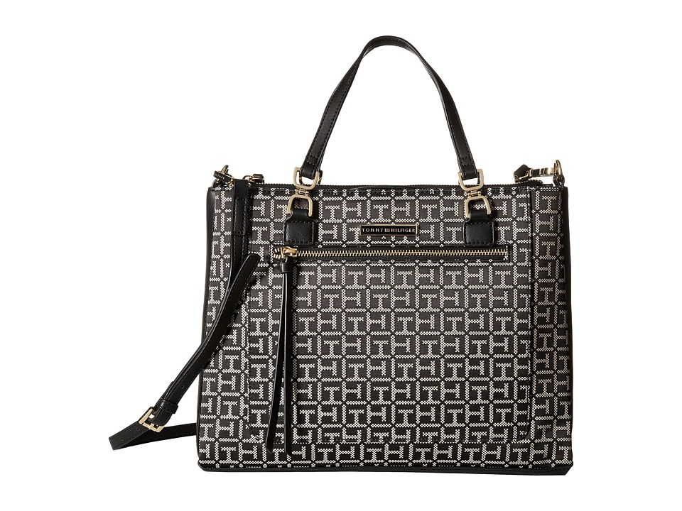 Tommy Hilfiger - Naomi - Convertible Shopper (Black/White) Convertible Handbags